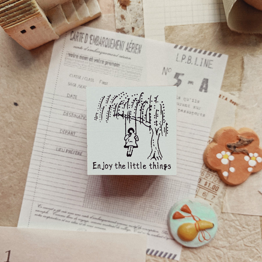 Rakui Hana x Niconeco Rubber Stamp - Enjoy the little thing
