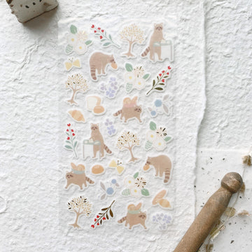 Yama Life Animal Washi Sticker Sheet - Raccoon