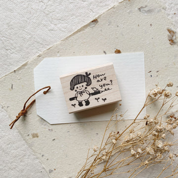 Hankodori original rubber stamp - How are you