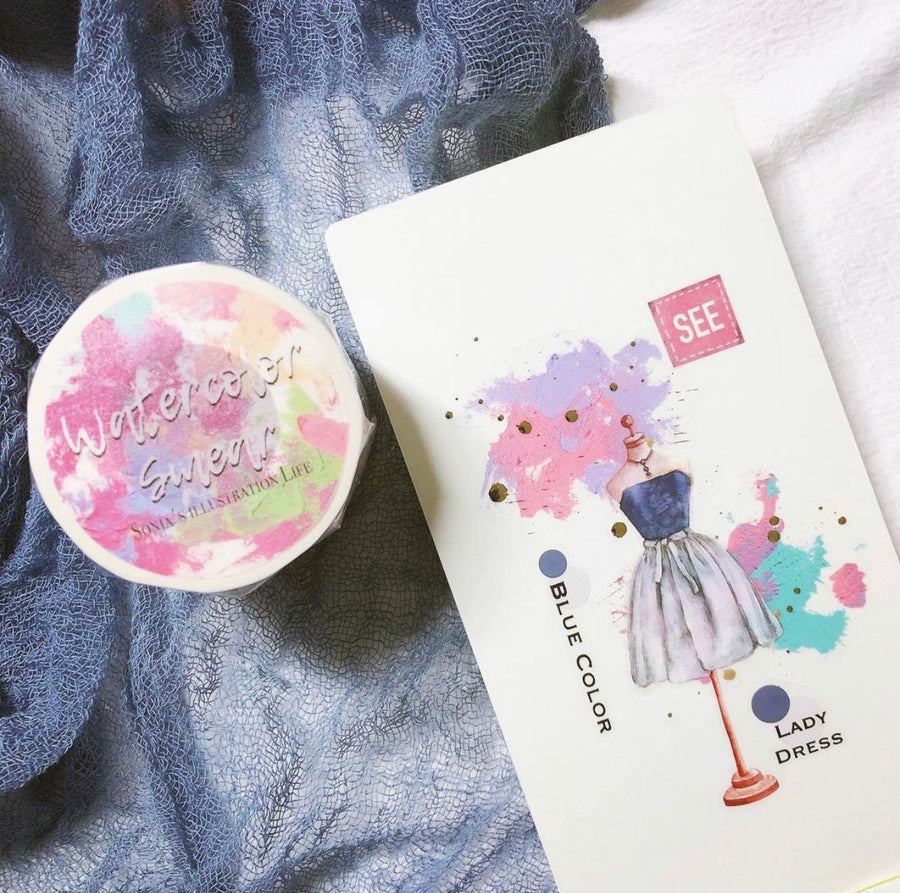 Sonia's Illustration Life Watercolor smear washi tapes 4cm