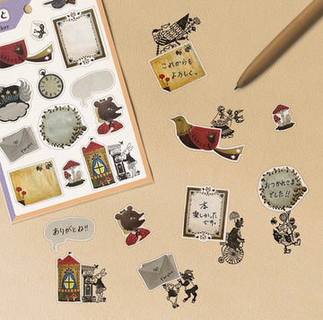 Elf Around stamps 切手のこびと bird & fox sticker