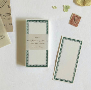 Niconeco Vintage Style Letterpress Notecard - Classic Green