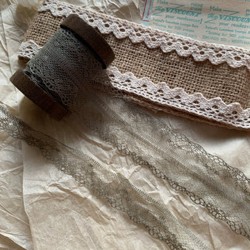 Vintage French Lace Ribbon - Pesto