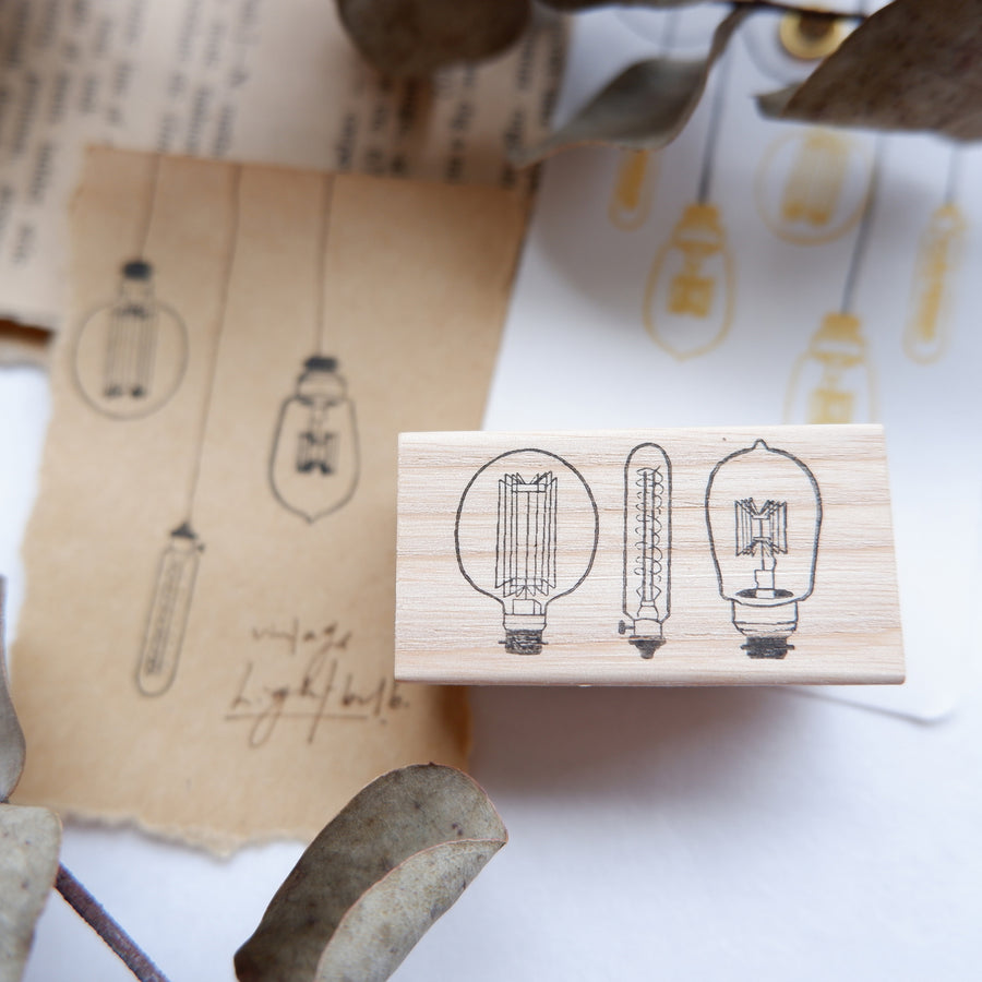 Laabiri Vintage Lightbulb Rubber Stamp