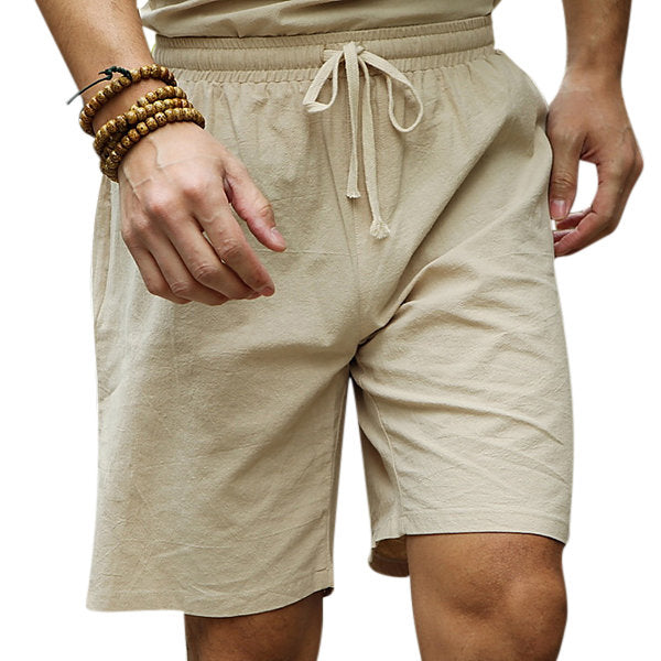 07867a7c1 Mens Summer Cotton Linen Drawstring Solid Color Knee Length Casual Shorts  ...