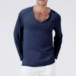 acf14824 Plus Size Men's Linen Solid Color V-Neck T-shirt