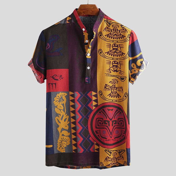 a1861c5d Ethnic Style Multi-Color Cartoon Printed T-shirts Men's Short Sleeve Henley  T- ...