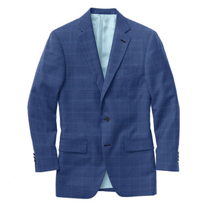 Royal Blue White Windowpane Suit