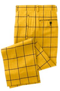 Yellow Navy Windowpane Pants