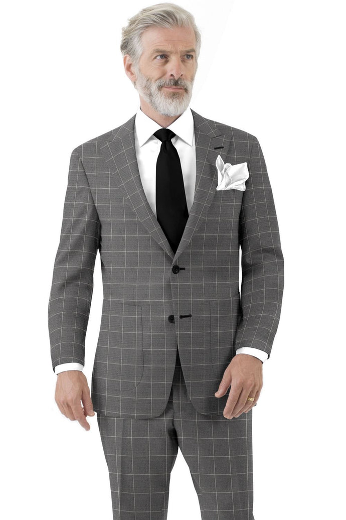 Grey White Windowpane Suit