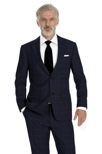 Navy Red Windowpane Suit