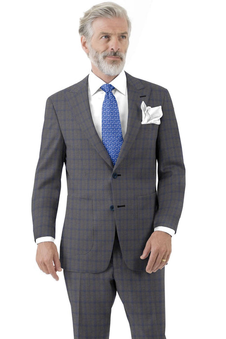 Grey Cobalt Check Suit
