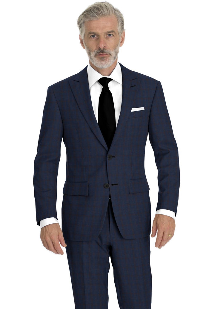 Navy Rust Check Suit