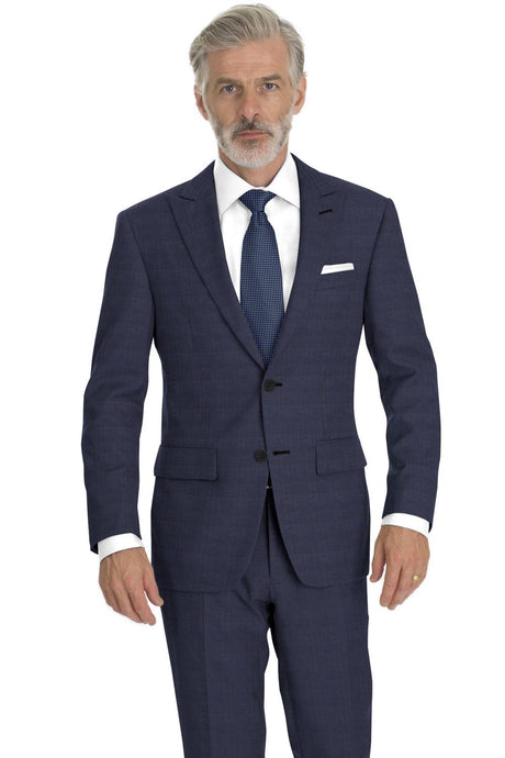 Dark Navy Blue Plaid Suit