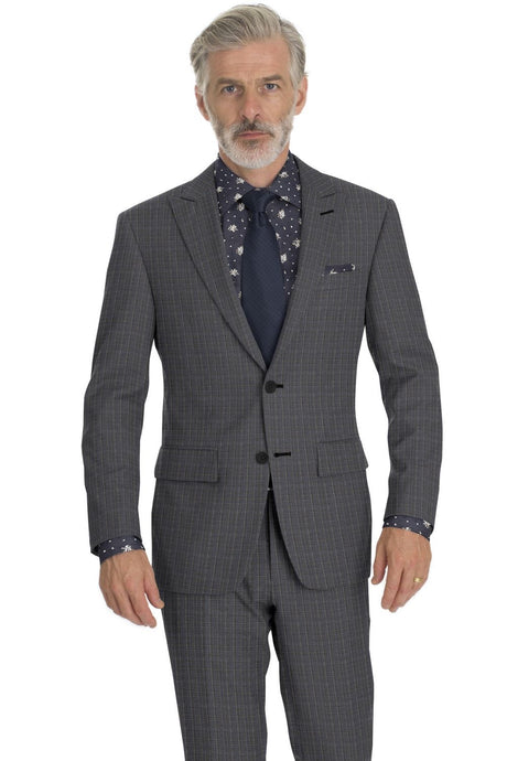 Blue Grey Chalkstripe Check Suit
