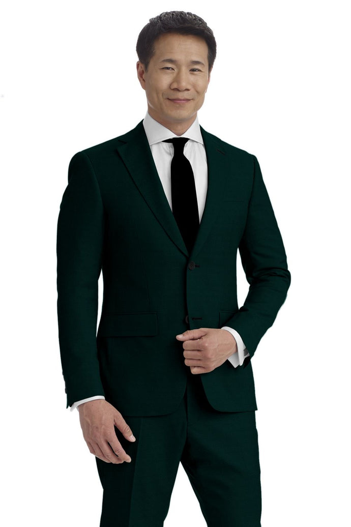 Dark Green Solid Velvet Suit
