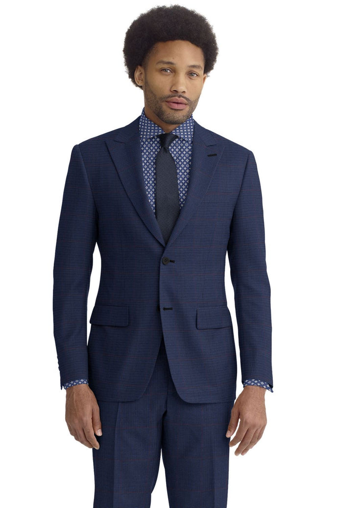 Navy Wine Glen Plaid Suit