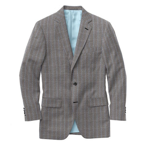 Grey Lt Blue Chalk Stripe Suit