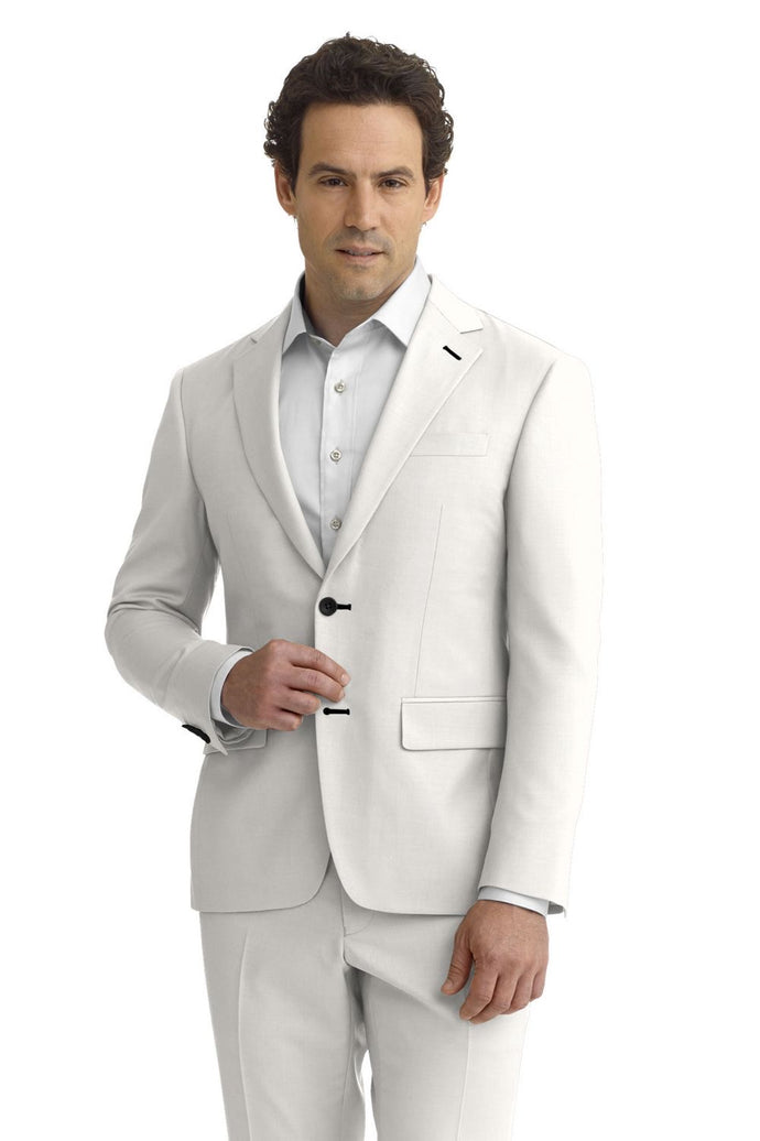 White Solid Faille Suit