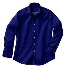 Load image into Gallery viewer, Deep Blue Satin Stretch Shirt