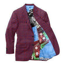 Load image into Gallery viewer, Red Navy Check Blazer