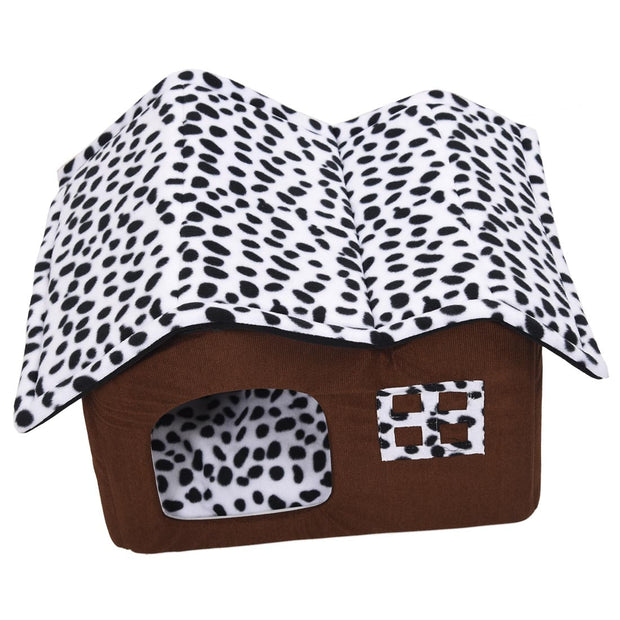 Double Pet House - with Dog Beds,  Brown Dog Room, Dog Cushion, 55 x 40 x 42 cm