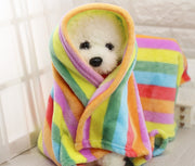 Dog Bed Blanket for Winter - Rainbow Color Warm Fleece Blankets