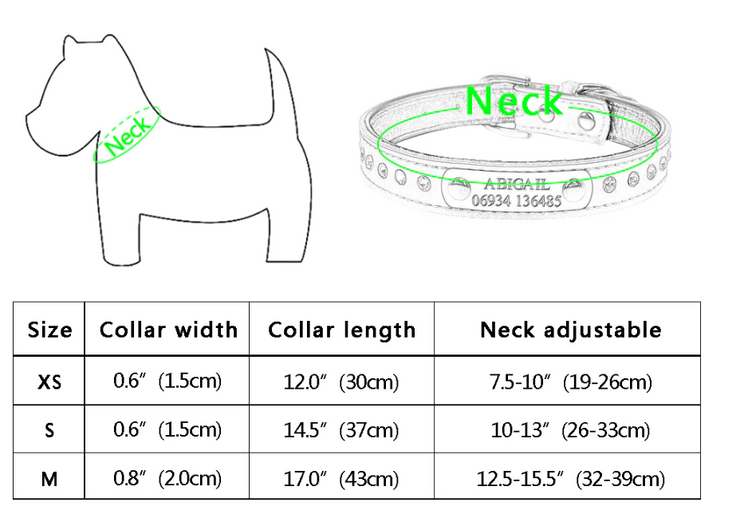 Personalized Collars for Dogs /  Engraved Leather Collar