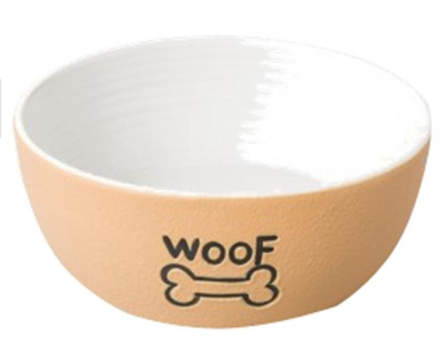 ETHICAL PRODUCTS CERAMIC NANTUCKET WOOF DOG STONEWARE DISH – TAN