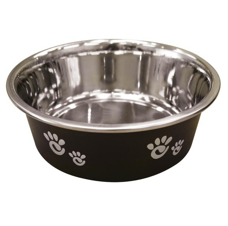 BARCELONA MATTE LICORICE STAINLESS STEEL DOG BOWL