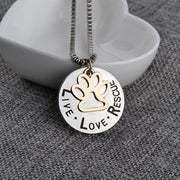 LIVE LOVE RESCUE Dog Paw Print Silver Pendant Necklace