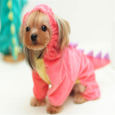 Plush Outfit - Dinosaur Costume with Hood for Small Dogs