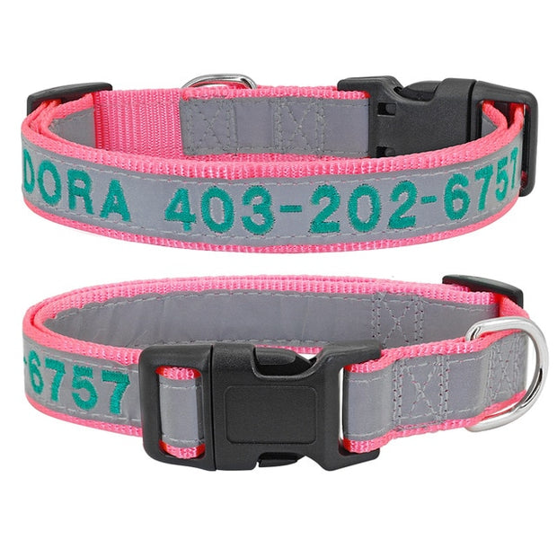 Personalized Embroidered Dog Collar - Reflective