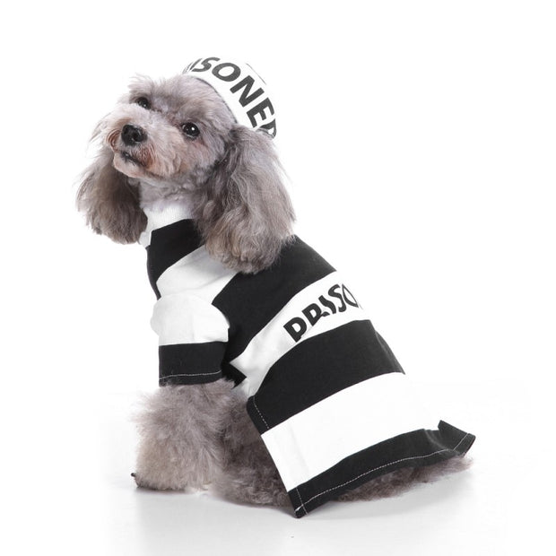 Halloween Prison Pooch Dog Costume With Hat
