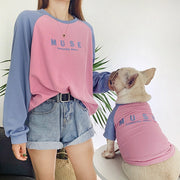 Letter Print matching shirts for you and your dog