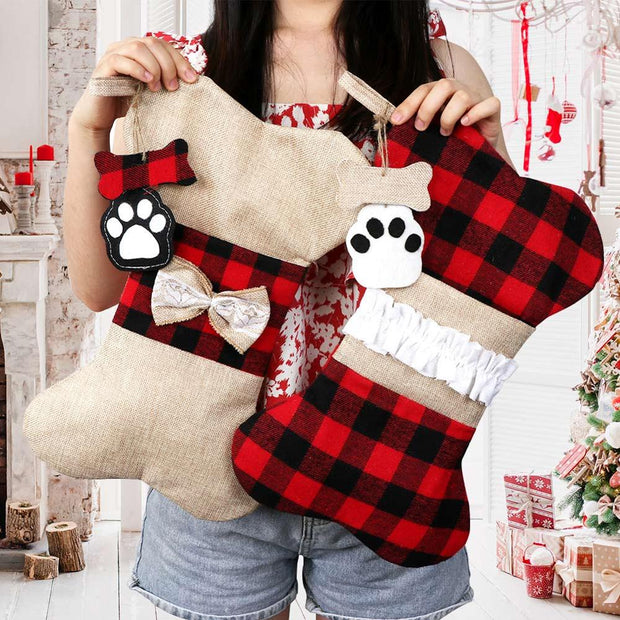 Red Plaid Pet Christmas Stocking Dog