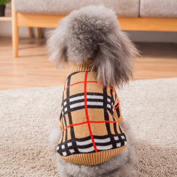 Hipidog Plaid Dog Sweater for Winter