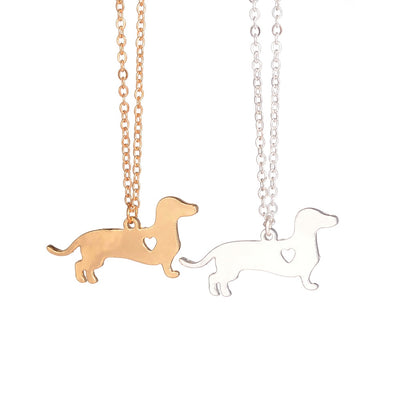 "Gold Silver 1pc Dachshund Necklace on 17.7"" Chain"