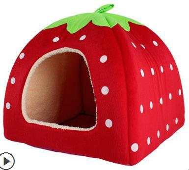 Dog House, large dog bed, Strawberry Leopard Print