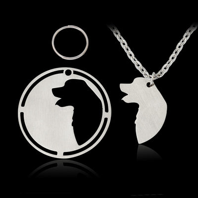 2 pcs/set Silhouette Golden Retriever / Great Pyrenees Pendant Necklace