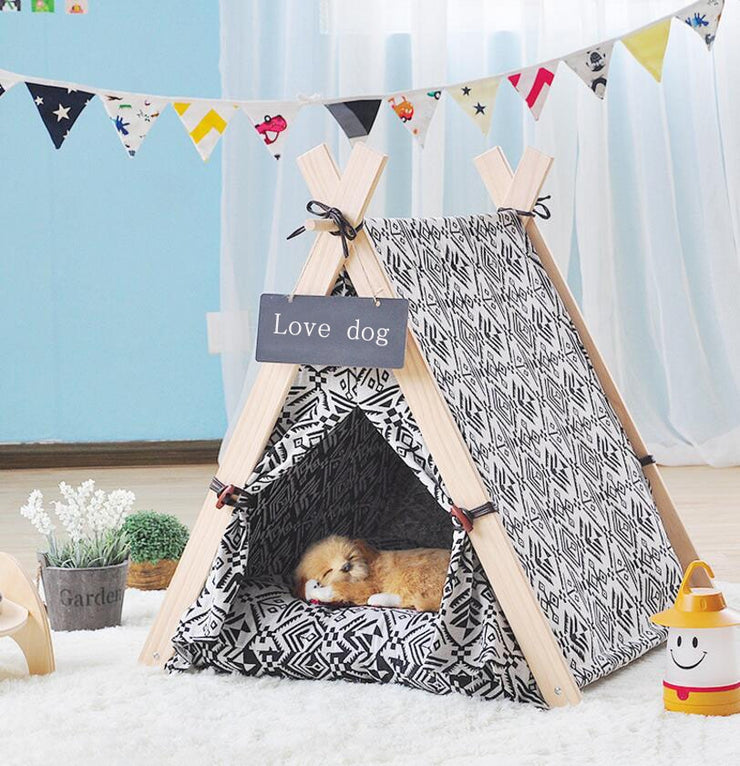 Dog House  With Mat - Foldable Pet Tent