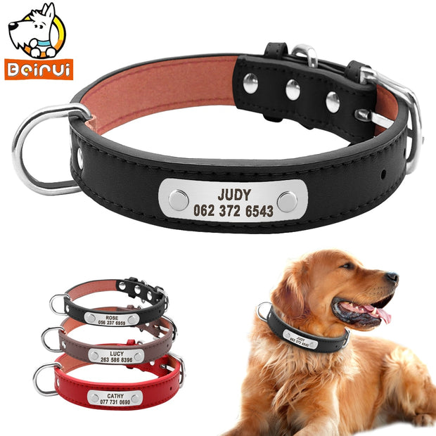 Leather Dog Collar - Durable Padded and Personalized Pet ID Collars