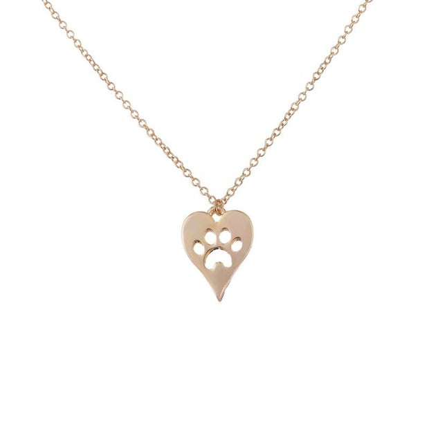 Choker Dog Paw  with Love Heart Necklace for Women