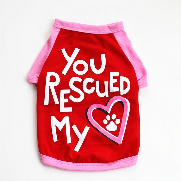 """YOU RESCUED MY HEART"" Printed Dog T-Shirts"