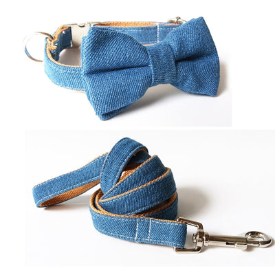 Jeans Bow Tie Dog Collar & Leash