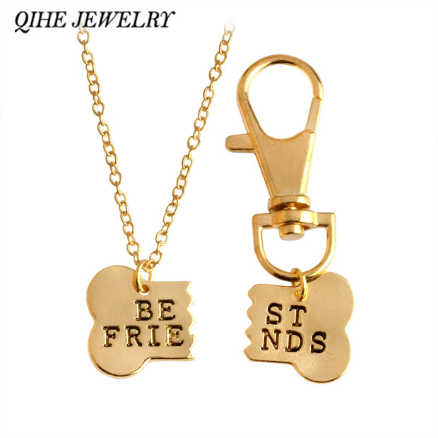 2pcs / set Gold or Silver Color Dog Bone Best Friends Charm Necklace & Keychain