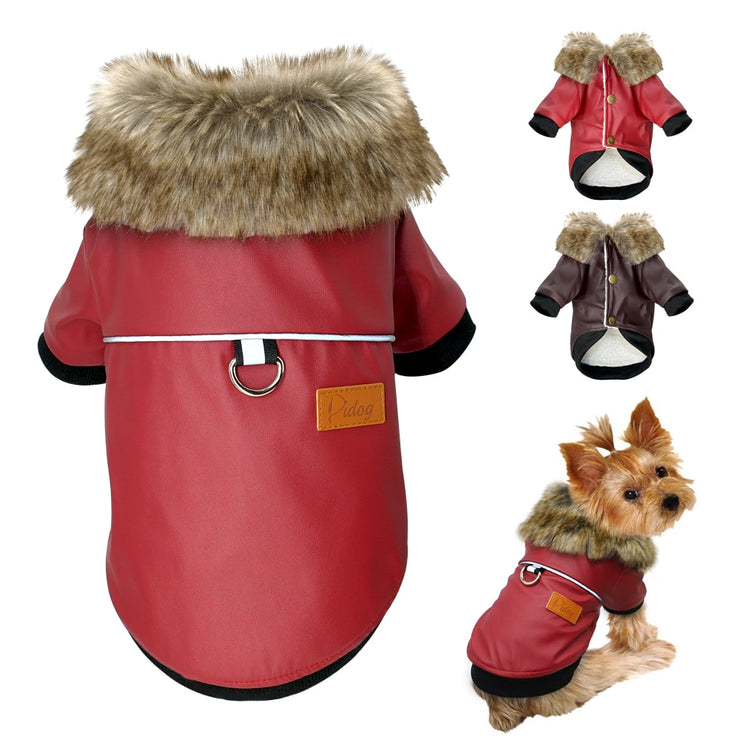 Waterproof Leather Winter Coat with Fur Collar