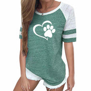 Love Dog Paw Print Top, Womens Plus Size Raglan Pink T-shirt