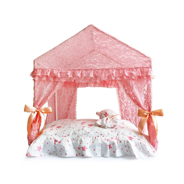 Princess Home For Dog - Luxury Pet Kennel House With Cushion