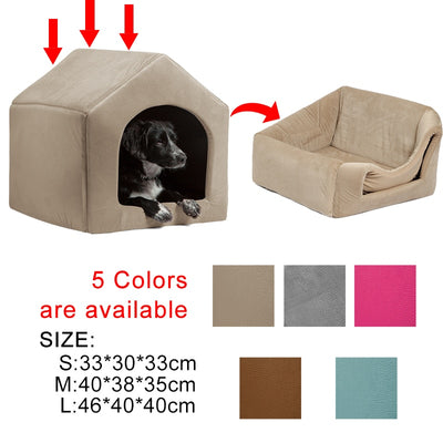Multifuctional Shape Dog House with Foldable Mat Bed Small and Medium Dogs